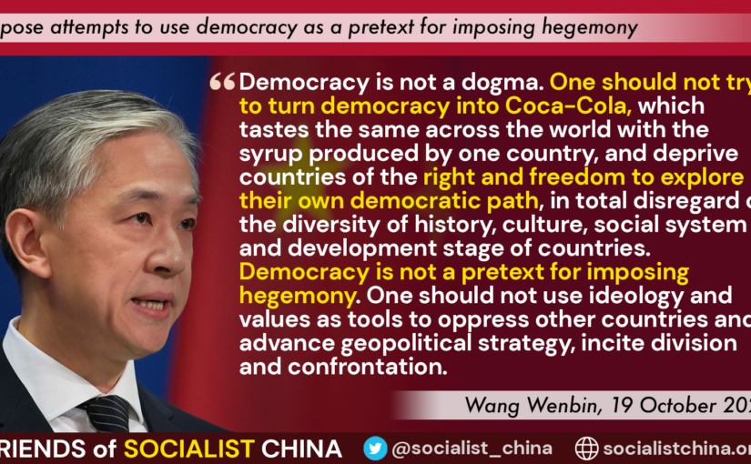 Wang Wenbin on 'democracy' as a tool for imposing hegemony
